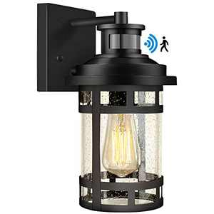 Motion Sensor Outdoor Wall Light, Dusk to Dawn Outdoor Lighting with Seeded Glass, Outdoor Wall Sconce Porch Light for Outside, Garden, Patio, Hallway