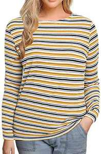 Sofia's Choice Womens Striped T Shirt Crew Neck Long Sleeve Casual Ribbed Kint Tee Top Knit Yellow Stripe XL