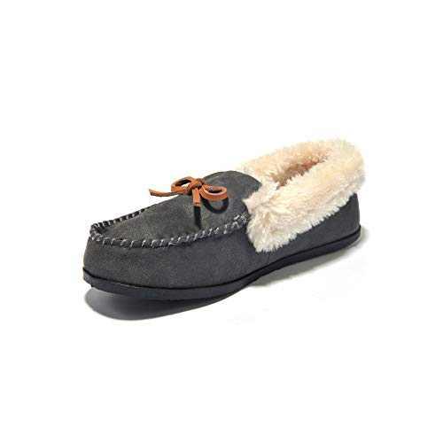 JIUMUJIPU A012,Women's Faux Fur Indoor Shoes House Slippers (DEEP GRAY-A012-5, Numeric_5)