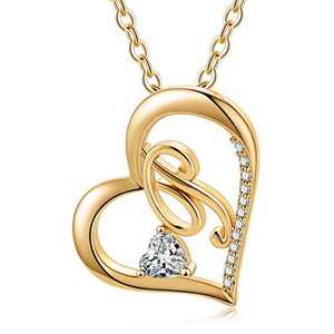 Ursteel Heart Initial Necklace, 14k Gold Plated Dainty Cubic Zirconia Forever Love Heart Necklaces Letter P Initial Pendant Necklaces for Women Teen Girls