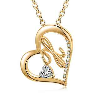 Ursteel Heart Initial Necklace, 14k Gold Plated Dainty Cubic Zirconia Forever Love Heart Necklaces Initial X Letter Pendant Necklaces for Women Teen Girls