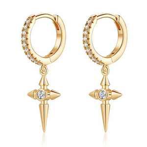 Cross Earrings for Women Huggie Hoop, Hypoallergenic S925 Sterling Silver Post 14K Gold Plated Dainty Cross Dangle Hoop Earrings Small CZ Huggie Earrings Jewelry Gifts for Women