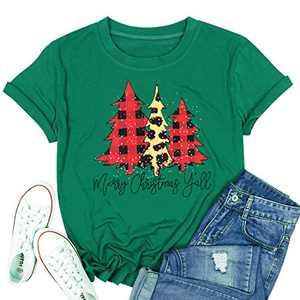 T&Twenties Merry Christmas Letter Print T Shirt for Women,Leopard Plaid Christmas Tree Tee Tops Funny Short Sleeve Merry Christmas Tree Print Shirt Tops Green