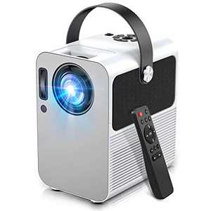 """Mini Projector, Portable Video Projector Full HD 1080P Supported with 5500 Lux and 200"""" Display, Bluetooth Input and 2 HDMI & USB Audio Output"""