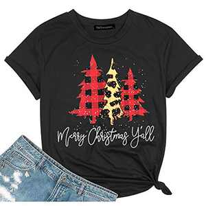 T&Twenties Merry Christmas Letter Print T Shirt for Women,Leopard Plaid Christmas Tree Tee Tops Funny Short Sleeve Merry Christmas Tree Print Shirt Tops Black