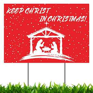 "Christmas Decorations Yard Sign, Keep Christ in Christmas Nativity Manger Scene Xmas Holiday Decor Outside Lawn Sign 18x12"", 2-Sided Print Banner with Metal Stakes for Home Gifts Outdoor Patio Garden"