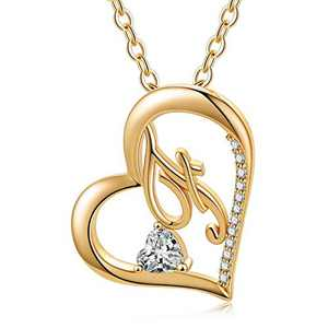 Ursteel Heart Initial Necklace, 14k Gold Plated Dainty Cubic Zirconia Forever Love Heart Necklaces Letter F Initial Pendant Necklaces for Women Teen Girls