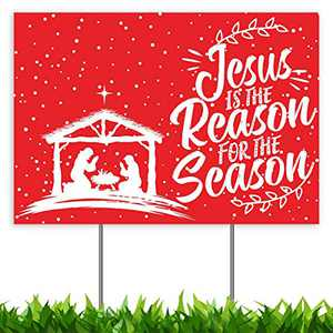CLEARANCE Christmas Decorations Yard Sign, Jesus is The Reason for Season Nativity Manger Scene Xmas Holiday Decor Outside Lawn Sign 18x12, 2-Sided Banner with Metal Stakes for Outdoor Patio Garden