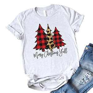 T&Twenties Merry Christmas Letter Print T Shirt for Women,Leopard Plaid Christmas Tree Tee Tops Funny Short Sleeve Merry Christmas Tree Print Shirt Tops Grey