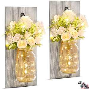 Hsuner Wall Decor Mason Jar Sconces - with Remote Timer Fairy Lights and Upscale Elegant Roses Flowers Bouquet, Rustic Farmhouse Home Decor, Wall Decorations for Living Room, Set of 2 Upgraded