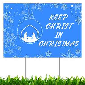 "CLEARANCE Christmas Decorations Yard Sign, Keep Christ in Christmas Nativity Manger Scene Xmas Holiday Decor Outside Lawn Sign 18x12"", 2-Sided Print Banner with Metal Stakes for Outdoor Patio Garden"