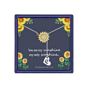 Sunflower Necklace Gift for Women Girls, 14k Gold Plated Sunflower Necklace Sunflower CZ Pendant Necklace Heart Initial Q Necklace You are My Sunshine Necklace Sunflower Jewelry for Women