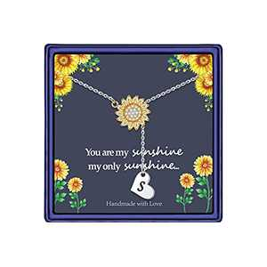 Sunflower Gifts Dainty Sunflower Necklace, 14k Gold Plated Sunflower Necklace Sunflower Gifts for Women You are My Sunshine Necklace Sunflower Gifts Jewelry for Women (S)