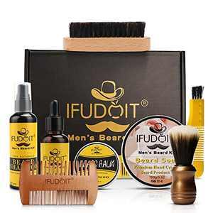 Beard Grooming Care Kit,IFUDOIT Beard Trimming Tool Set for Men,100% Natural Beard Oil,Beard Soap,Beard Shampoo, Beard Balm, Beard Brush, Beard Growth Kit