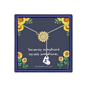 Sunflower Gifts Dainty Sunflower Necklace, 14k Gold Plated Sunflower Necklace Sunflower Gifts for Women You are My Sunshine Necklace Sunflower Gifts Jewelry for Women (X)