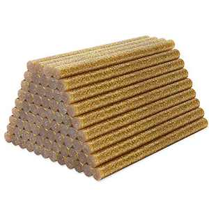 Glitter Hot Melt Glue Sticks, Enpoint 72pcs 3.93 x 0.27 in Gold Glue Sticks, Adhesive Mini Hot Glue Sticks EVA for Home Repair DIY Art Projects Bonding Woods Glass Paper and Plastic Applications