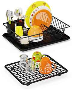 Dish Drying Rack, Swedecor Dish Rack with Drain Tray, Grid Drying Rack for Kitchen Countertop, 2 Piece Set