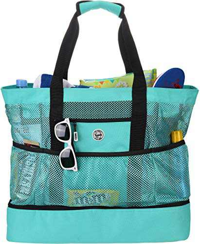 Tingueli Beach Tote Bag For Women with Soft Cooler and Top Zipper — Extra Large Beach Bag, Mesh Tote Bag or Pool Bag [Mint]
