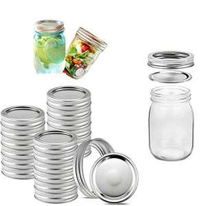 24 Sets Regular Mouth Mason Jar Canning Lids with Bands Reusable Split-Type Lids Leak Proof and Secure Canning Jar Caps (70mm 24 Lids and 24 Bands)