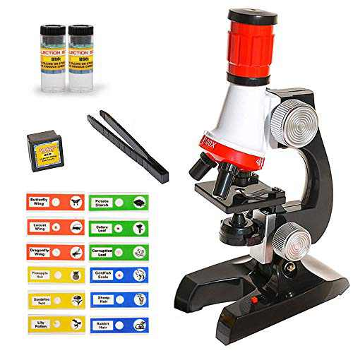 VARUN Kids Beginner Microscope with LED 100X, 400x, and 1200x Magnification and Sample Prepared Slides Accessory Set Educational STEM Kits High Definition Magnification Microscope for Boys Girls