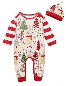 Shalofer Newborn Merry Christmas Romper Baby Boy Xmas Pajama (Red,0-3 Months)