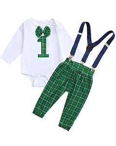 Shalofer Valentine's Day Outfits Baby Boy One Year Old Clothes Set Infant Suspenders Bowtie Bodysuit (Green,6-12 Months)