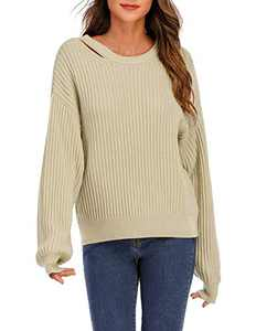 DRESSTELLS Women's Sweater, Casual Cable Knitted Pullover Tunic Ugly Christmas Pom Sweater Khaki S