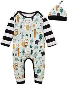 Shalofer Baby Boy Funny Animals Pajama Newborn Stripes Romper (Black,0-3 Months)