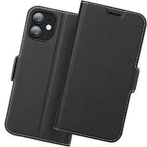 Holidi iPhone 12 Mini Wallet Case, iPhone 12 Mini Flip Case, iPhone 12 Mini 5G Case with Card Holder. iPhone 12 Mini Leather Case, iPhone 12 Mini Phone Case, Slim Folio Cover, Full Protection. Black