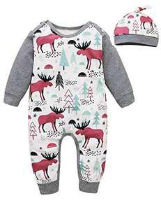 Shalofer Baby Boy Christmas Romper Newborn Xmas Gift Pajamas (Grey,0-3 Months)