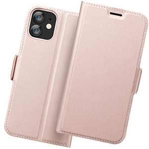 Holidi iPhone 12 Mini Wallet Case, iPhone 12 Mini 5G Case Card Holder, iPhone 12 Mini Flip Case, iPhone 12 Mini Leather Case, iPhone 12 Mini Phone Case, Slim Folio Cover, Full Protection. Rose Gold
