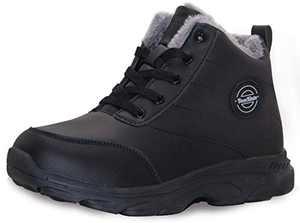 BomKinta Women's Work Snow Boots Keep Warm AntiSlip Winter Boots Soft Sole Fur Lined Ladies Booties Black Size 5