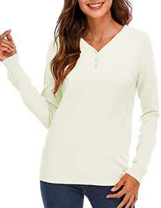 Women Knit Shirt Long Sleeves Henley Tops V Neck Sweater Tunic with Button Decor Ivory S
