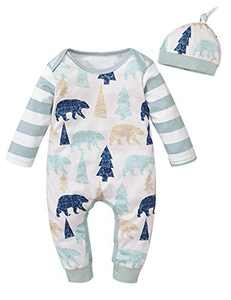 Shalofer Baby Boy Christmas Jumpsuit Toddler Baby Bear Romper (Green,6-12 Months)