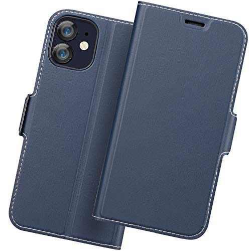 Holidi iPhone 12 Mini Flip Case, iPhone 12 Mini Wallet Case, iPhone 12 Mini 5G Case with Card Holder. iPhone 12 Mini Leather Case, iPhone 12 Mini Phone Case, Slim Folio Cover, Full Protection. Blue