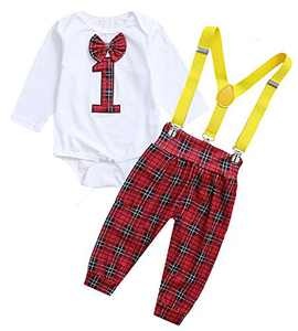 Shalofer Valentine's Day Outfits Baby Boy One Year Old Clothes Set Infant Suspenders Bowtie Bodysuit (Red,6-12 Months)