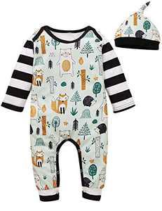 Shalofer Baby Boy Funny Animals Pajamas Toddler Stripes Romper (Black,6-12 Months)