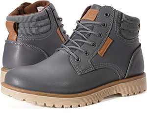 WHITIN Men's Insulated Work Boots Zapatos Botines Botas De Trabajo para Hombre Size 8 Waterprof Hiking Trekking Construcion Cuero Casuales Senderismo Invierno La Nieve Grey 41