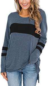 Yidarton Women's Color Block Long Sleeve Shirt Casual Round Neck Side Split High Low Tunic Tops (Blue&Black,Large)