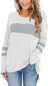 Yidarton Women's Color Block Long Sleeve Shirt Casual Round Neck Side Split High Low Tunic Tops (White&Gray,Medium)