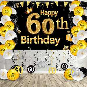 Happy 60th Birthday Party Decorations Kit, Black Gold Glittery Happy 60th Birthday Backdrop Banner Photo Background Balloon Hanging Swirls for Men Women 60th Birthday 60 Years Old Party Decor Supplies