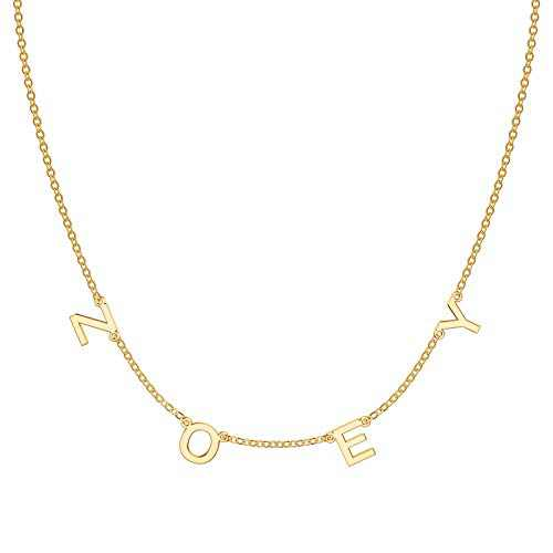 Dainty Personalized Spaced Zoey Name Necklace, 14K Gold Plated Chain Dangle Letter Nameplate Choker Necklace Custom Spaced Letter Necklace with Hanging Name Jewerly Gifts for Women Girls Kids