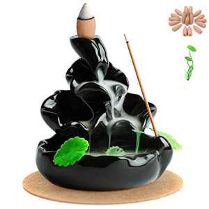 OCIOLI Waterfall Incense Burner Ceramic Incense Holder Lotus Flower Incense Burner for Home Decor Aromatherapy Ornament with 20 Free Incense Cones.