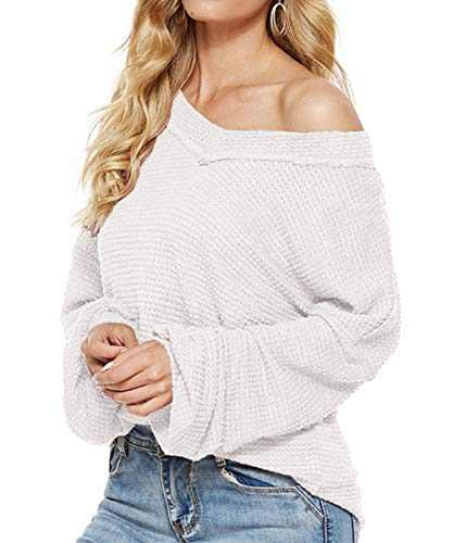 Womens Waffle Knit Shirt- Long Balloon Sleeve Off Shoulder Tops + V Neck Oversized Sweater Pullover White Small