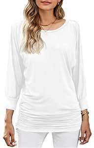 MODARANI White Loose Fitting Tunic Tops for Women Dolman Drape Tops Casual Side Shirring Shirt Solid XL