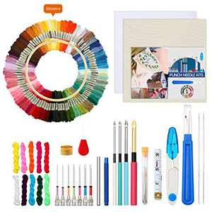 Bestcool 85Pcs Embroidery Starter Kit, Cross Stitch Kit for Adults Beginners Embroidery Kit with Embroidery Thread, Punch Needle, Needle Threader, Embroidery Hoop, Seam Ripper, Thimble, Manual