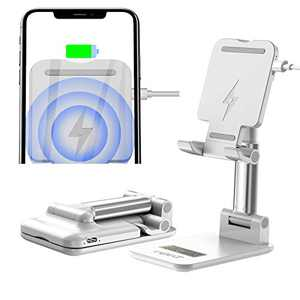 Cell Phone Wireless Charger for Desktop Stand,Foldable Angle&Height Adjustable,10W Qi Fast Wireless Charging Stand for iPhone 11/Pro/Max/X/XR/XS Max, Galaxy Samsung S10/S9/S8 (Silver)