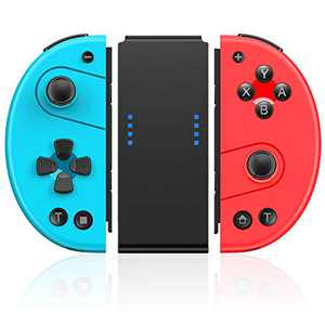 Joy Pad Controller for Nintendo Switch/Switch Lite, Kydlan Replacement for Switch Joycon, Wireless Switch Controller Compatible with Dual Shock, Motion Control, Turbo, Blue & Red Mini Gamepad