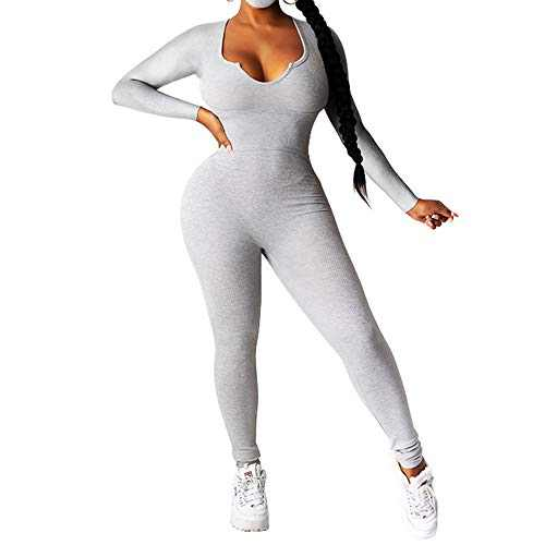 ZJFZML Solid Fitness Stretchy Rompers Womens Jumpsuit Deep V Neck Full Sleeve Club Party Overalls Streetwear Autumn Skinny Bodysuits Gray M