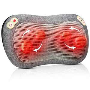 Back Massager, ATMOKO Neck Massage with Heat Massage Pillow with Timer Individual Buttons for Lower Back, Legs, Foot, Use at Home Office Car, Gift for Family, Friends, Birthday, Grey